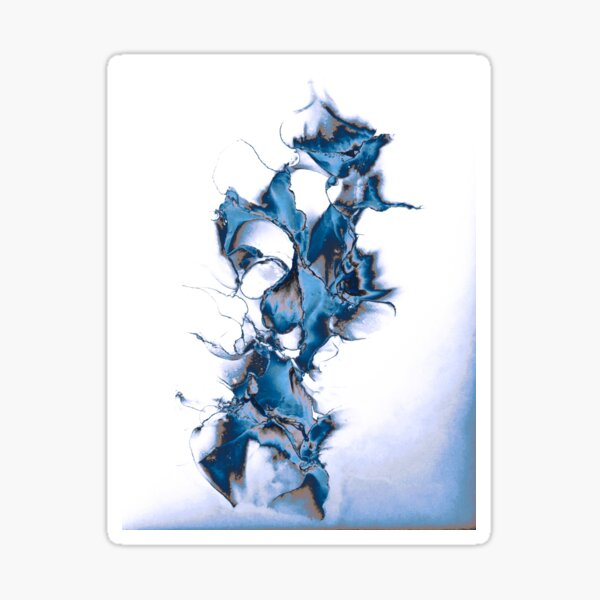 Abstract with various blues and greys, white background Sticker