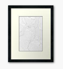 Simple map of Boston city center Framed Print