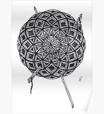 Stippling Geometric Circles - Black Ink Poster