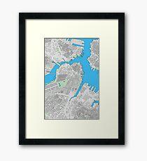 Boston city center building map Framed Print