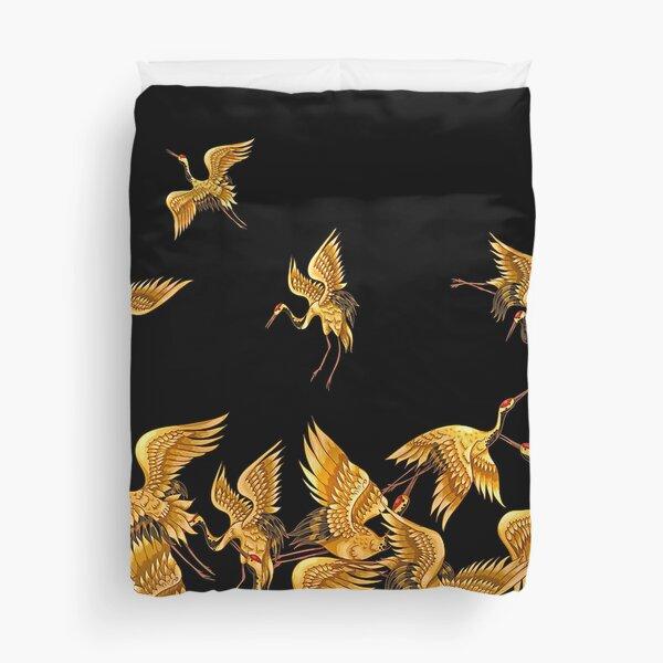 Golden Japanese Cranes Oriental Duvet Cover