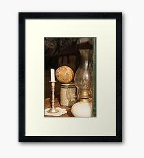 Window Candle and Lamp Framed Print