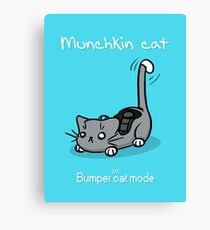 Munchkin cat - Bumper cat mode - white font Canvas Print