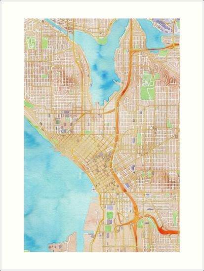 Seattle City Center Watercolor Map Art Prints By Mapcandy Redbubble