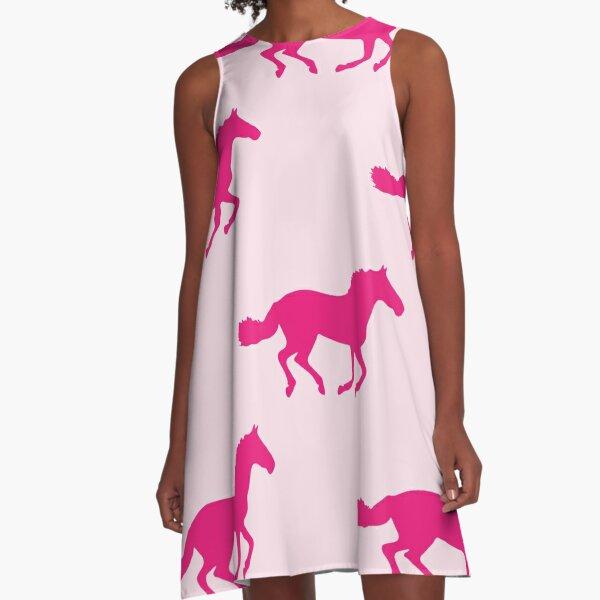 PINK GALLOPING HORSES Pop Art A-Line Dress