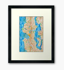 watercolor map of Seattle metropolitan area Framed Print