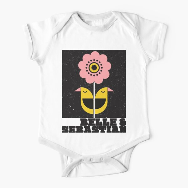 Belle and Sebastian- original illustration, 'Bird and Flowers' whimsical styled graphic, for the legendary alternative / indie rock band. Short Sleeve Baby One-Piece