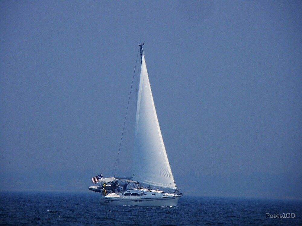 Out of the fog...came a sailboat (Memorial day) by Poete100