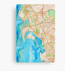 San Diego metropolitan area watercolor map Canvas Print