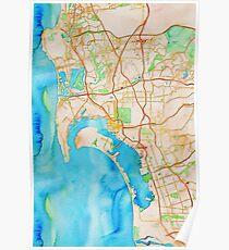 San Diego metropolitan area watercolor map Poster
