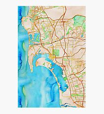 San Diego metropolitan area watercolor map Photographic Print