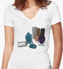 Nail polish bottle digital drawing  Women's Fitted V-Neck T-Shirt