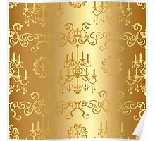 beautiful gold chandelier pattern,chic,elegant,vintage,old style, Poster