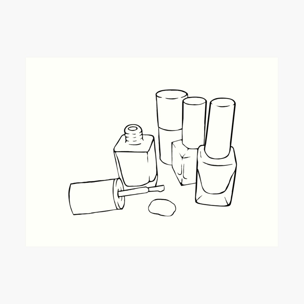 Nail polish bottle outline drawing art print by pennee redbubble