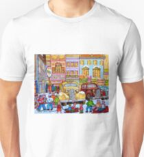 Taxi Stand Vintage Downtown Montreal Stores And Cars Montreal Memories Winter Scenes  T-Shirt