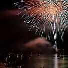 Fireworks over Ohio River by Tony  Bazidlo