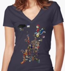 Renaissance Europe National Personification Map Women's Fitted V-Neck T-Shirt