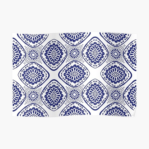 Seamless pattern ethnic, aztec, ikat. Poster