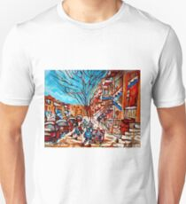 Street Hockey Painting Winter City Scene Verdun Montreal Staircase Canadian Art  Unisex T-Shirt