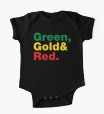 Green, Gold & Red. One Piece - Short Sleeve
