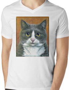 """Grey Tuxedo Cat painting """"Etna"""" Mens V-Neck T-Shirt"""