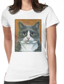 "Grey Tuxedo Cat painting ""Etna"" Womens Fitted T-Shirt"