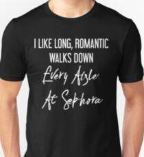 Camiseta ajustada Me gusta Larga, romántica recorre cada pasillo en Sephora