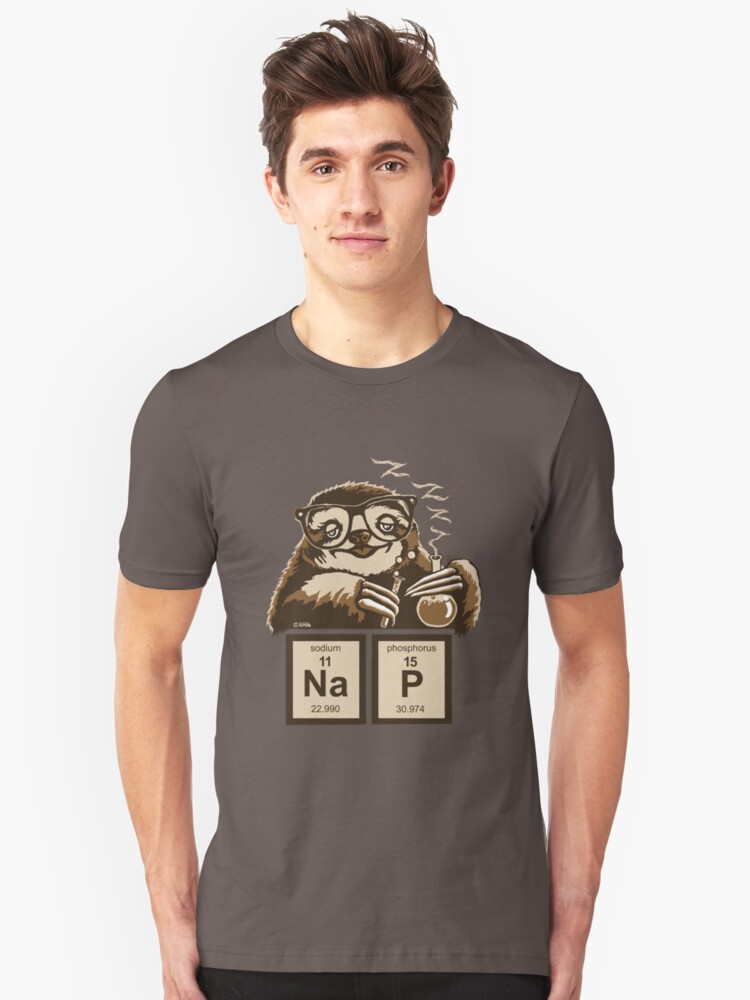 Chemistry sloth discovered nap Unisex T-Shirt Front