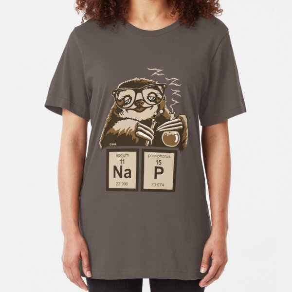 Chemistry sloth discovered nap Slim Fit T-Shirt