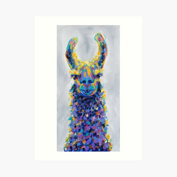 Chauncey - Colorful Llama Painting Art Print