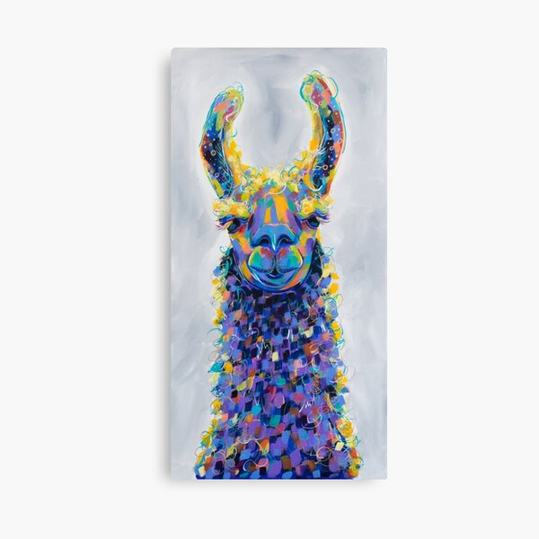 Chauncey - Colorful Llama Painting Canvas Print