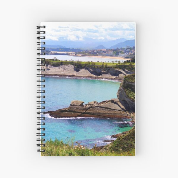 Sea, rocks, beach and mountains in Santander Spiral Notebook