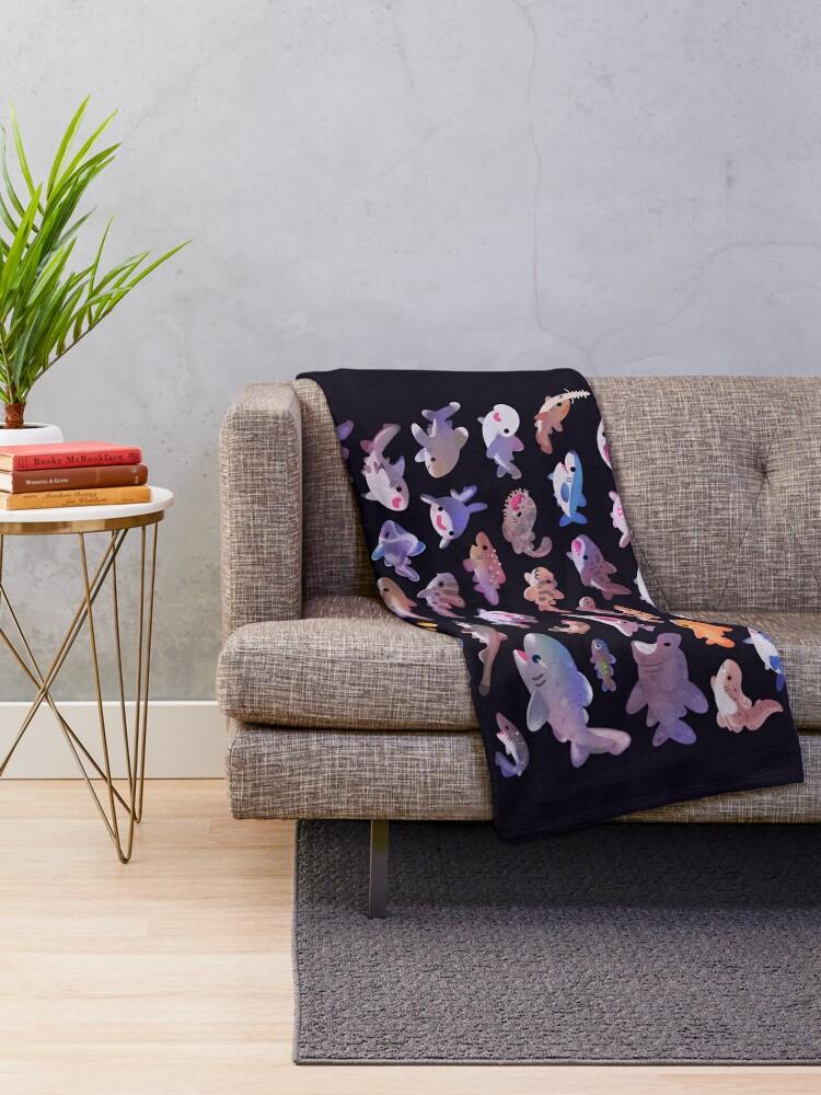 Alternate view of Shark day - combine Throw Blanket