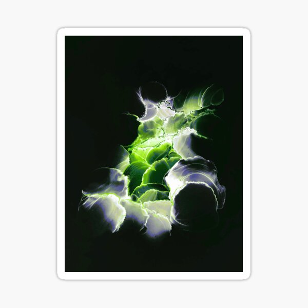 Vibrant green & white abstract on black Sticker