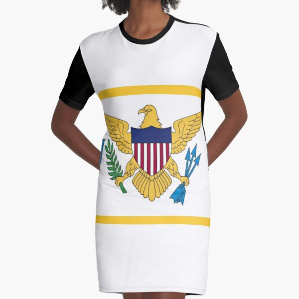 United States Virgin Islands Flag Graphic T-Shirt Dress