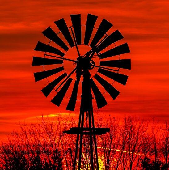 Midwestern Windmill Sunrise Silhouette by Kenneth Keifer