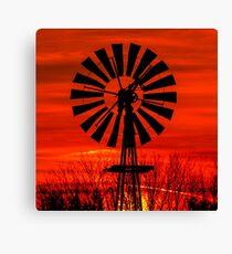 Midwestern Windmill Sunrise Silhouette Canvas Print