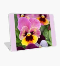 Colorful Pink and Yellow Pansy Flower Laptop Skin