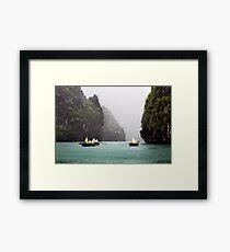 Rain & Rowboats: Life in Halong Bay, Vietnam  Framed Print
