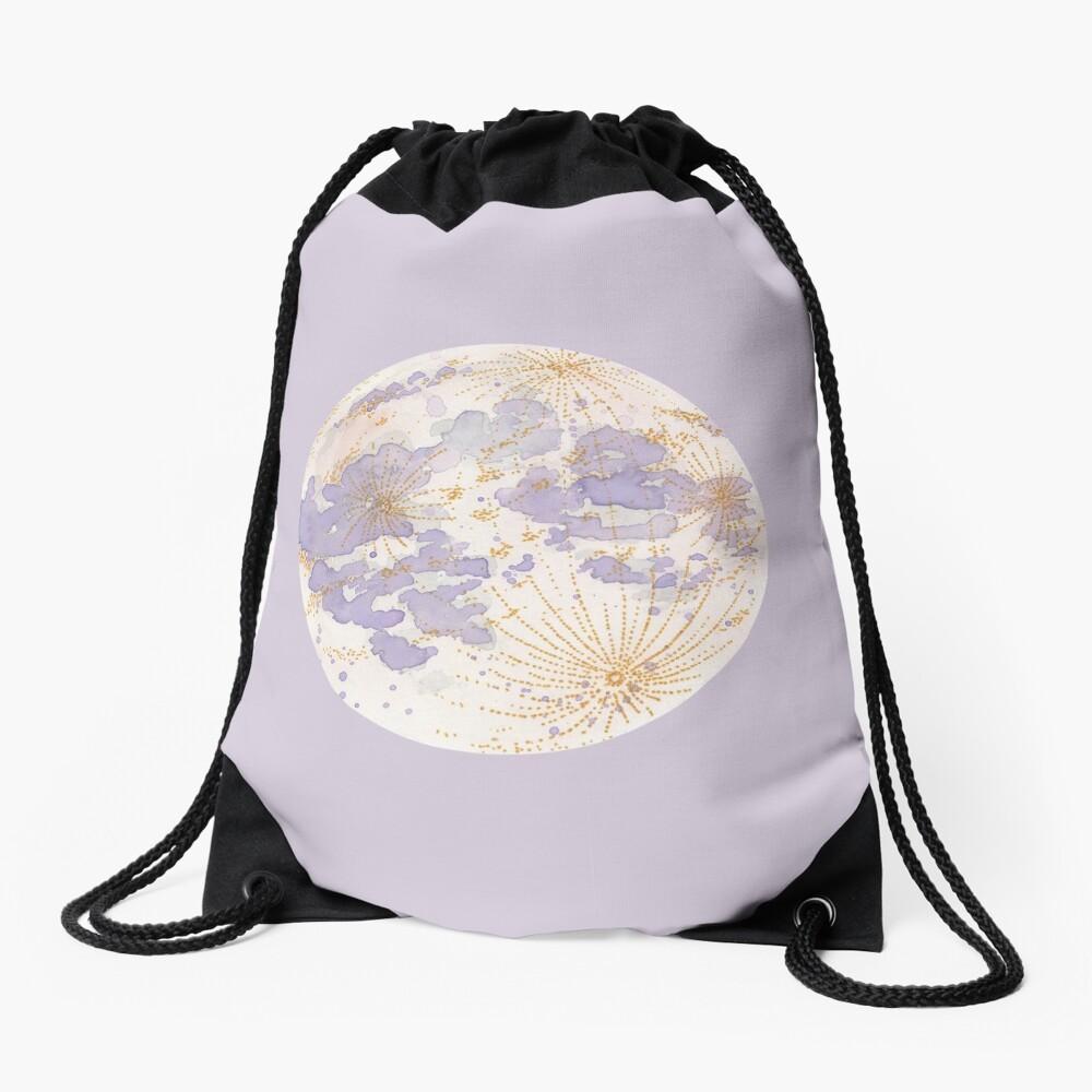 Lavendar Peach Moon Drawstring Bag