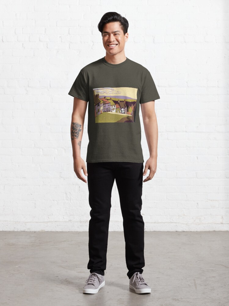 Alternate view of Gold Hill - Original linocut by Francesca Whetnall Classic T-Shirt
