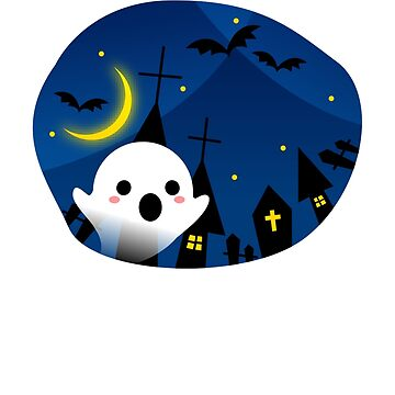 Kawaii Cute Ghost Halloween Night Bat Haunted House by JapaneseInkArt