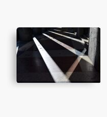 Abstract background created with lights and shadows in walkway with columns. Canvas Print