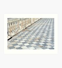 Checkered floor with baluster handrail. Art Print