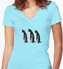 3 Penguins Women's Fitted V-Neck T-Shirt