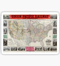 0407 Railroad Maps New map of the Union Pacific Railway the short quick and safe line to all points Sticker