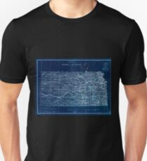 0118 Railroad Maps State of Kansas 1884 compiled from the official records of the General Land Office and other sources under supervision of G P Strum Principal Draughtsman Inverted T-Shirt