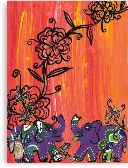 Purple Elephants by kewzoo
