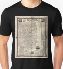 0105 Railroad Maps Rail road and county map of Illinois showing its internal improvements T-Shirt