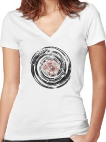 Old Vinyl Records Urban Grunge Women's Fitted V-Neck T-Shirt